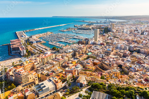 Photo Alicante city panoramic aerial view