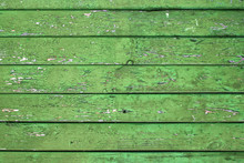 Natural Wooden Background. Old Painted In Green Boards