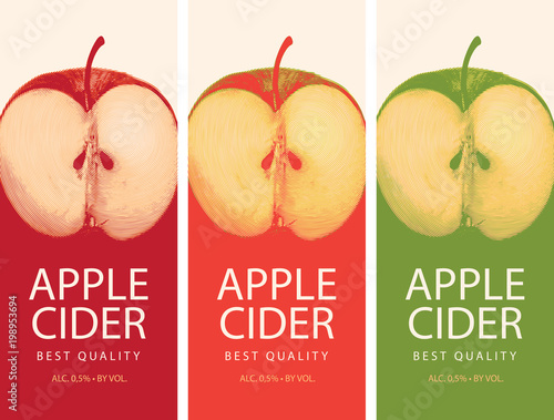 Vector set of labels for Apple cider with realistic image of half an Apple Fototapeta