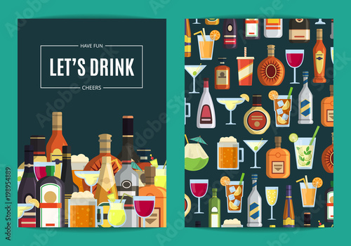 Vector card, flyer or brochure template for bar, pub or liquor store with alcoho Canvas Print