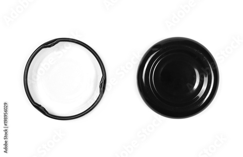Juice bottle lids isolated on white background, top view