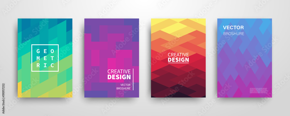 Fototapeta Modern futuristic abstract geometric covers set