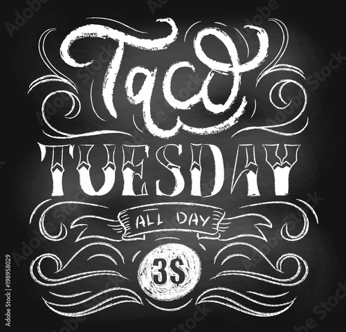 Taco tuesday chalkboard vector poster with lettering and flourishes ...