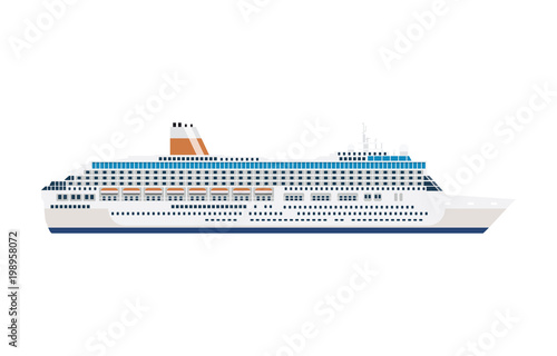 Cuadros en Lienzo  sea cruise ship isolated on white