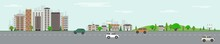 City Skyline With Skyscrapers, Public Park With Green Trees And Lawn And Road With Vehicles On Blue Sky Background With Clouds In Flat Style. Colorful Horizontal Cityscape. Vector Illustration.