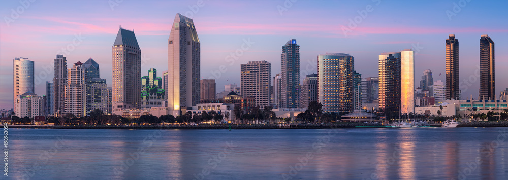 Fototapety, obrazy: Downtown City of San Diego panorama, California USA at Dawn