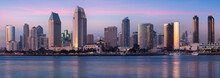 Downtown City Of San Diego Panorama, California USA At Dawn