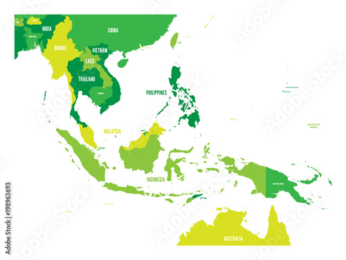 Foto  Map of Southeast Asia. Vector map in shades of green.