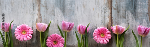 Photo  Spring flowers on shabby wood
