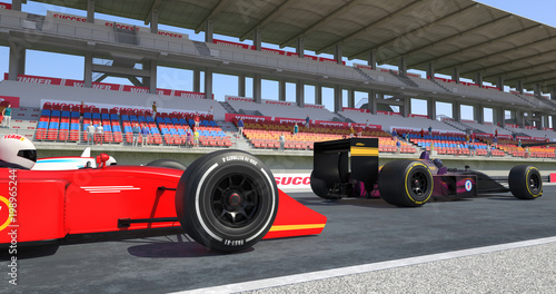 Foto op Plexiglas Motorsport Racing Cars Crossing Finish Line On Racing Track - High Quality 3D Rendering With Environment