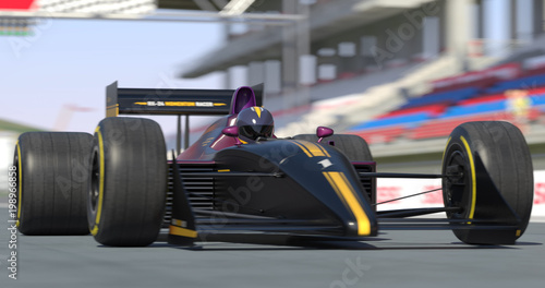 Foto op Plexiglas Motorsport Racing Car Getting Ready For Racing With Depth Of Field - High Quality 3D Rendering With Environment