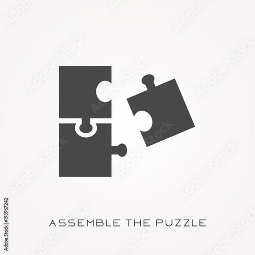 Fotografie, Tablou  Silhouette icon assemble puzzle