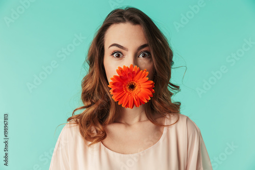 Aluminium Prints Gerbera Close up portrait of a pretty young girl