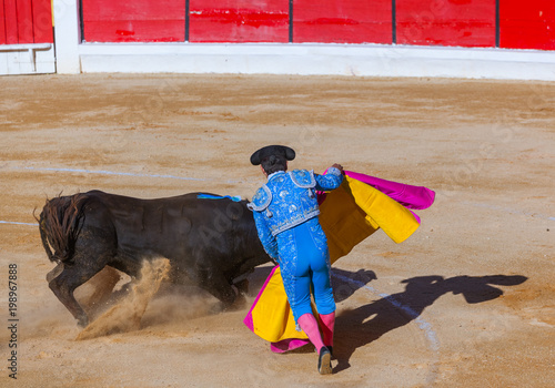Tuinposter Stierenvechten MOITA LISBON, PORTUGAL - SEPTEMBER 14: Matador and bull in tourada bullfight on September 14, 2016 in Moita Lisbon, Portugal