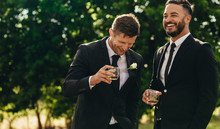 Groom And Best Man Drinking At...