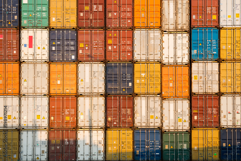 Fototapety, obrazy: frontal view of a Stack of containers