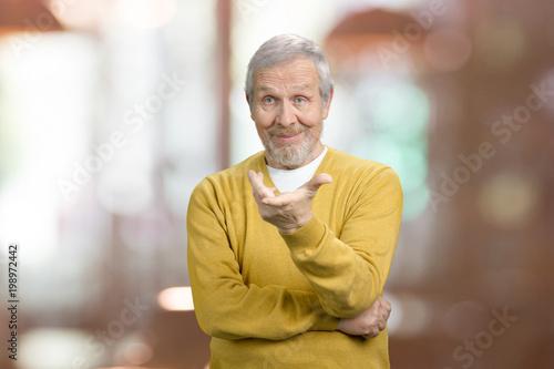 cf8d42560 Old man asking a question what is it. Portrait of arrogant ...