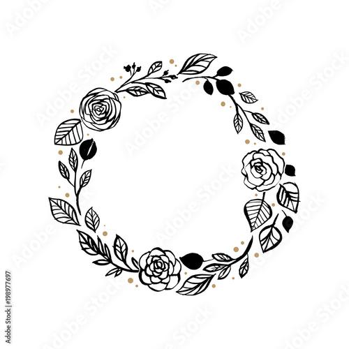 Floral Rustic Rose Wreath For Wedding Invitation Template Design