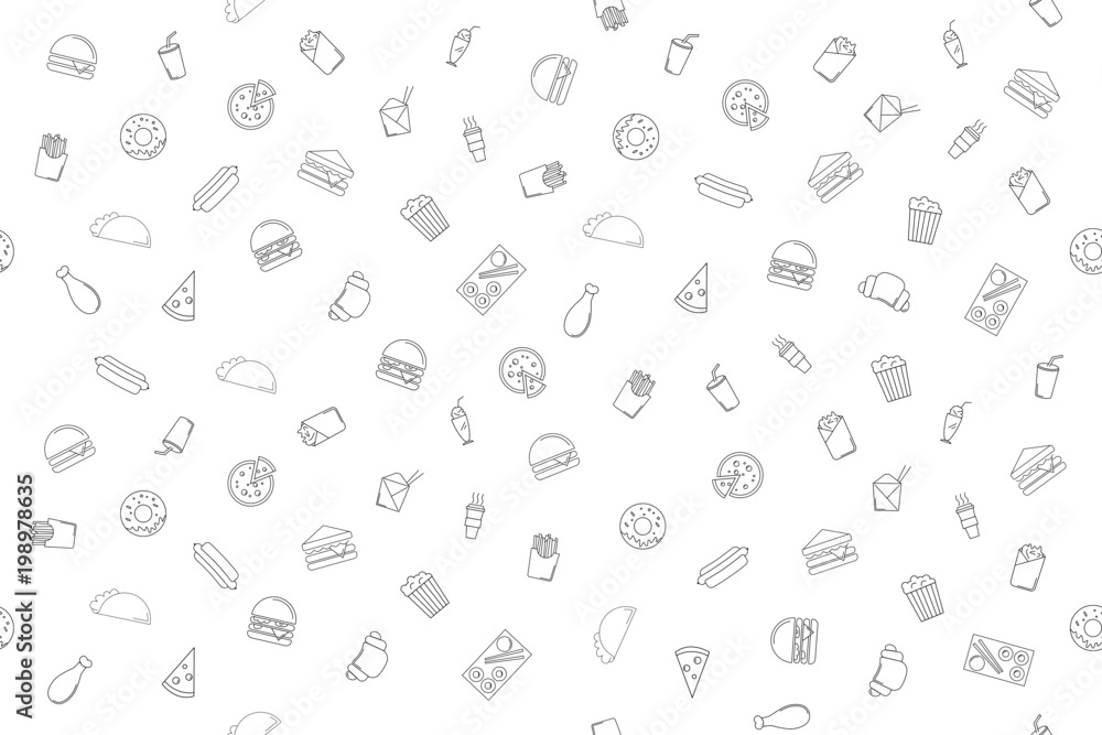 Fototapety, obrazy: Vector fast food pattern. Fast food seamless background