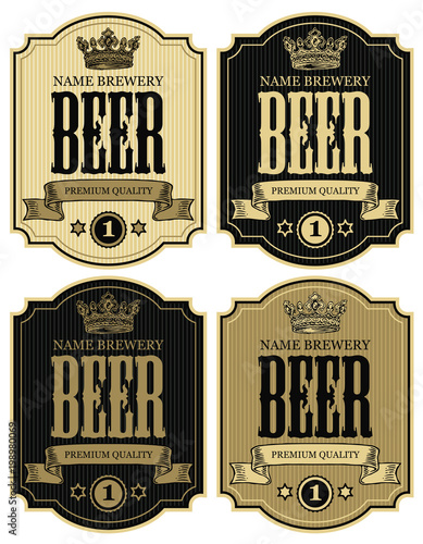 Fényképezés  Set of vector labels for beer with crown and ribbon in figured frames on striped