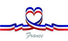 France Flag And Love Ribbon