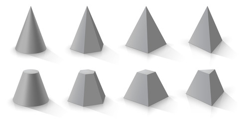 Grey cone and set of pyramids.