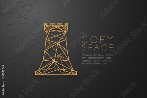 Valokuva  Chess Rook wireframe Polygon golden frame structure, Business strategy concept d