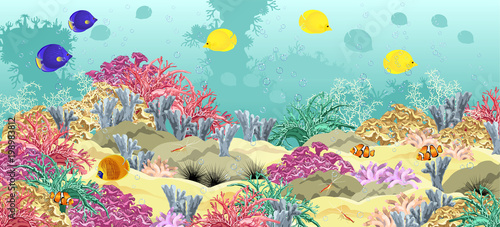 Poster Turquoise Sea underwater world with corals, fish, sponges sand seabed and bubbles. Realistic vector illustration.