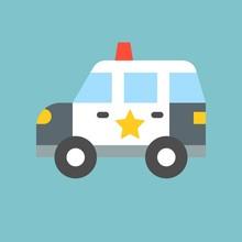 Simple Patrol Car, Transportation Icon, Flat Design