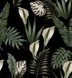 wzór tropikalnych ciemnych białych kwiatów - 198984839