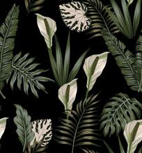Tropical Dark White Flowers Pattern
