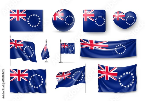 Set Cook Islands Realistic Flags Banners Banners Symbols Icon