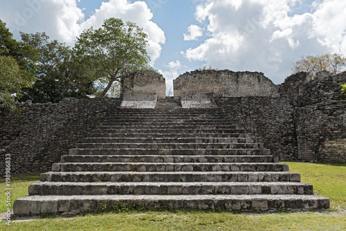 Poster Ruine The ruins of the ancient Mayan city of Kohunlich, Quintana Roo, Mexico