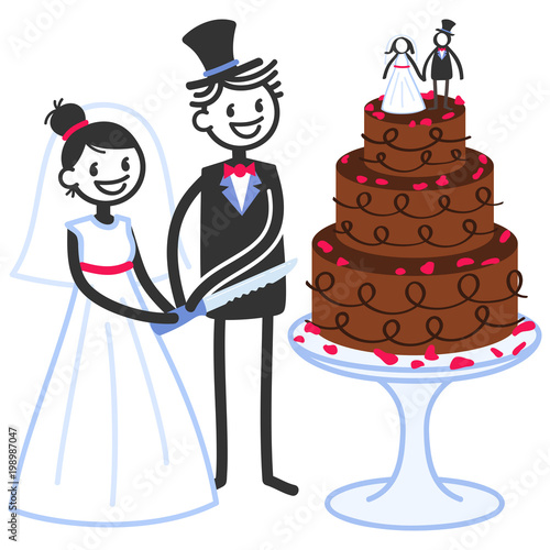 vector illustration of cute stick figures bridal couple cutting