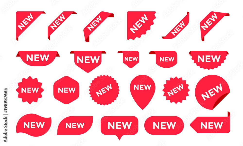 Fototapety, obrazy: Stickers for New Arrival shop product tags, labels or sale posters and banners vector sticker icons templates