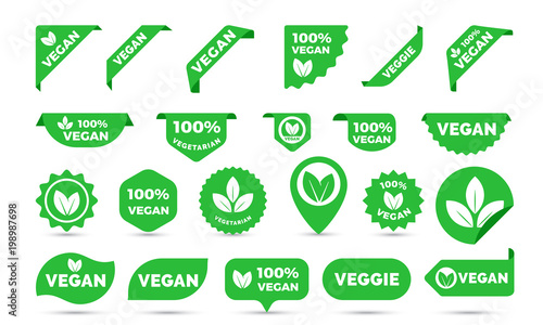 Fotografia Vegan green stickers set for vegan product shop tags, labels or banners and posters
