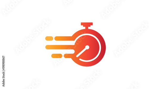 Fotografiet  Illustration of the symbol vector of fast service with a flaming clock symbolize