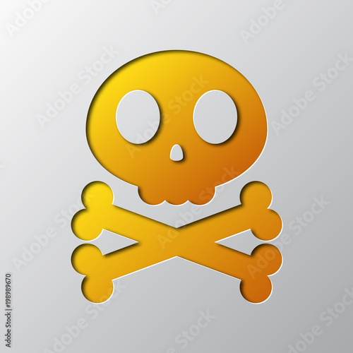 Paper art of the yellow skull and crossbones. Vector illustration Poster