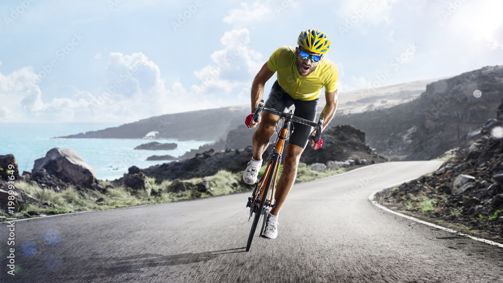Fototapeta Professional road bicycle racer in action