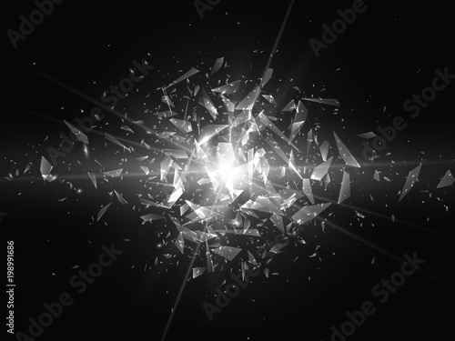 Fotografía  Shards of broken glass. Abstract explosion. Vector illustration