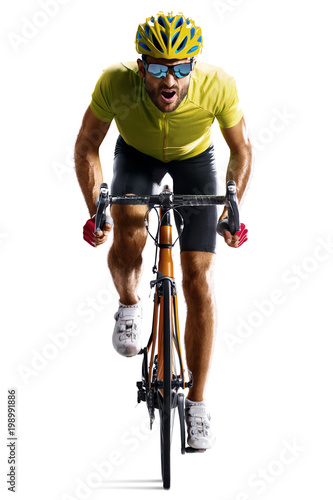 Fotografia  Professinal road bicycle racer isolated in motion on white