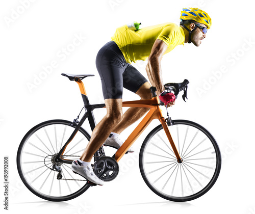 Professinal road bicycle racer isolated in motion on white Wall mural