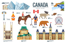 Country Canada Travel Vacation Guide Of Goods, Places And Features. Set Of Architecture, Fashion, People, Items, Nature Background Concept. Infographic Template Design For Web And Mobile On Flat Style