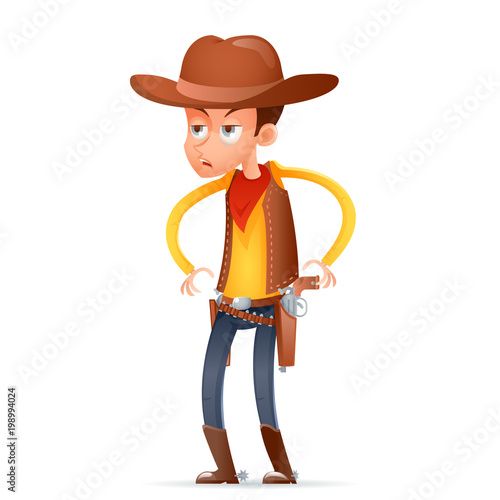 In de dag Boerderij Cowboy wild west american retro gunman cartoon design character isolated icon vector illustration