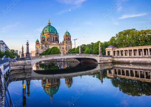 Berlin Cathedral from the river spree in the early morning Poster