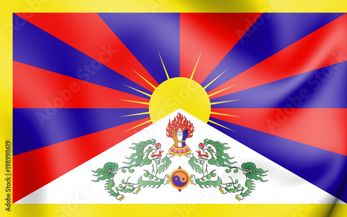Fototapeta 3D Flag of Tibet.