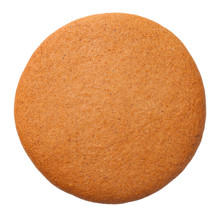 Gingerbread Round Cookie Isolated On White Background.