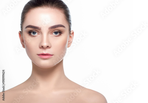 Fotografie, Obraz Beautiful woman face with fresh makeup, beauty healthy skin and wide eyebrows