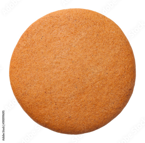 Foto auf Gartenposter Kekse Gingerbread Round Cookie Isolated on White Background.
