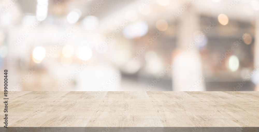 Fototapety, obrazy: Wood table top on blurred background from shopping mall, Space for montage your products